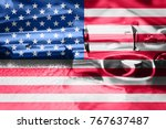 united states flag gun control... | Shutterstock . vector #767637487