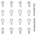 keys icons thin line vector... | Shutterstock .eps vector #767639743
