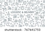 logistic and delivery banner.... | Shutterstock .eps vector #767641753
