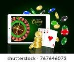 online casino design banner.  | Shutterstock .eps vector #767646073