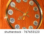 old clock in a wooden case.   Shutterstock . vector #767653123