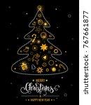 christmas hand drawn lettering. ... | Shutterstock .eps vector #767661877