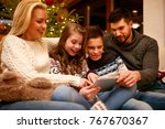 happy family having fun on... | Shutterstock . vector #767670367