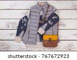 women's autumn clothing. gray... | Shutterstock . vector #767672923
