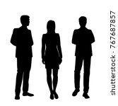 Vector Silhouettes Of Man And...
