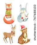 watercolor christmas animals | Shutterstock . vector #767688103