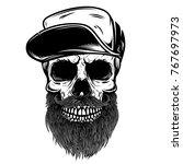 bearded skull in baseball cap.... | Shutterstock . vector #767697973