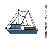 fishing ship isolated | Shutterstock .eps vector #767714203