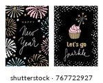 set of happy new year greeting... | Shutterstock .eps vector #767722927
