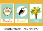 set of tropical cards with... | Shutterstock .eps vector #767728597