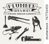 set for vintage emblem design... | Shutterstock .eps vector #767731453