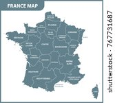 the detailed map of the france... | Shutterstock .eps vector #767731687