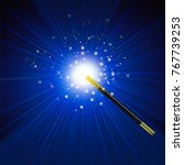 realistic magic wand with... | Shutterstock . vector #767739253