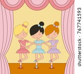 cute ballerina girls practicing ... | Shutterstock .eps vector #767741593