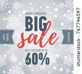 christmas sale banner. big sale ... | Shutterstock .eps vector #767746597