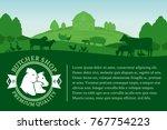 vector butcher shop... | Shutterstock .eps vector #767754223