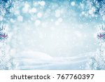 winter background  falling snow ... | Shutterstock . vector #767760397