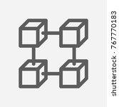 blockchain icon line symbol....