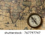 retro compass with old map | Shutterstock . vector #767797747
