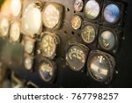 old aircraft panel with analog... | Shutterstock . vector #767798257
