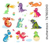 dragon cartoon vector cute... | Shutterstock .eps vector #767802043
