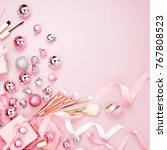flat lay holiday background... | Shutterstock . vector #767808523