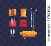pixel art flat icons set....   Shutterstock .eps vector #767821933