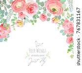 carnation  rose  ranunculus ... | Shutterstock .eps vector #767831167
