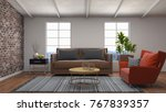 interior living room. 3d... | Shutterstock . vector #767839357