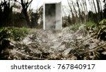 the scary door in the woods.... | Shutterstock . vector #767840917
