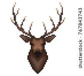 deer portrait in pixel art... | Shutterstock .eps vector #767843743