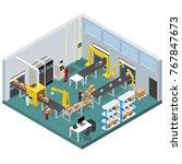 conveyor belt line factory... | Shutterstock .eps vector #767847673