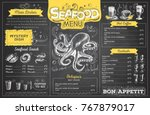 vintage chalk drawing seafood... | Shutterstock .eps vector #767879017