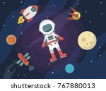 astronaut in space against the... | Shutterstock .eps vector #767880013