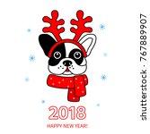 funny muzzle of a bulldog... | Shutterstock .eps vector #767889907