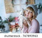 a nice young woman with a...   Shutterstock . vector #767893963