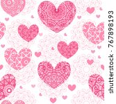 seamless pattern with hearts.... | Shutterstock .eps vector #767898193