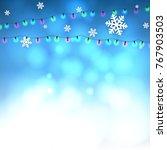 christmas blue background....   Shutterstock .eps vector #767903503