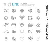collection of casino thin line... | Shutterstock .eps vector #767909887