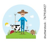 farmer cartoon character with... | Shutterstock .eps vector #767910427