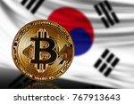 gold coin bitcoin on a...   Shutterstock . vector #767913643