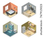 isometric interior vector... | Shutterstock .eps vector #767915023