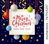 christmas greeting card with... | Shutterstock .eps vector #767915257