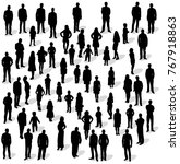 silhouette people group stand ... | Shutterstock . vector #767918863