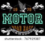 vintage motorcycle labels ... | Shutterstock .eps vector #767929387
