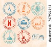 city stamps retro selection of...   Shutterstock .eps vector #767931943