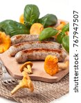 grilled sausages with... | Shutterstock . vector #767947507