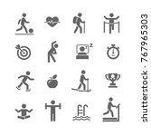 fitness and sport vector icons...   Shutterstock .eps vector #767965303
