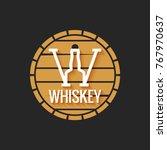 whiskey barrel logo design on... | Shutterstock .eps vector #767970637