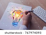 hand drawing abstract polygonal ... | Shutterstock . vector #767974093